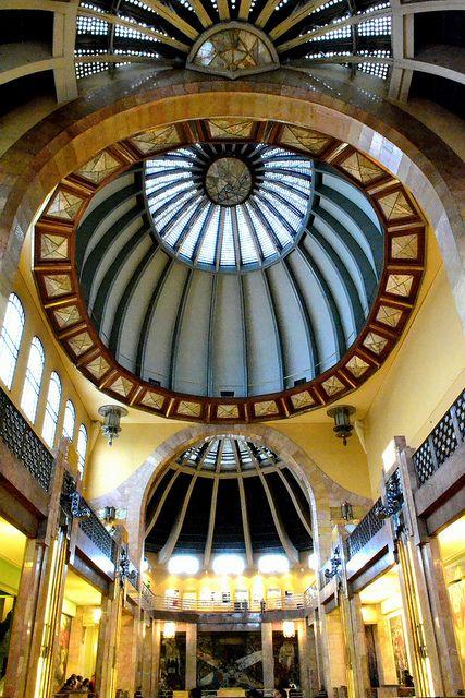 Palacio de Bellas Artes ceiling, Mexico City, Mexico.