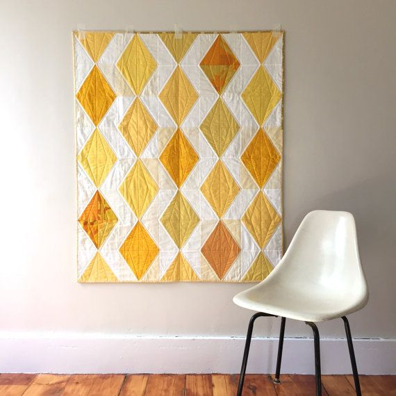 Modern Quilt   Yellow and White Diamond Quilt   Small Throw Quilt   Wedding Gift   Geometric Quilt