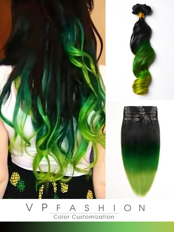 Best 25 mermaid hair extensions ideas on pinterest amazing hair black to green mermaid colorful ombre indian remy clip in hair extensions cs021 pmusecretfo Gallery