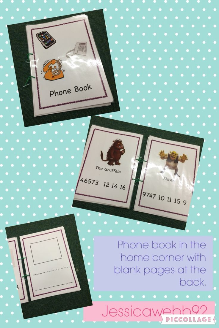 Phone book in the home corner. Popular characters and blank pages at the back for children to fill in. EYFS