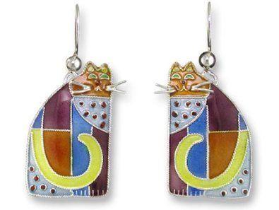 Cubist Cat Sterling Silver & Enamel Earrings Zarah. $29.99. Save 19%!