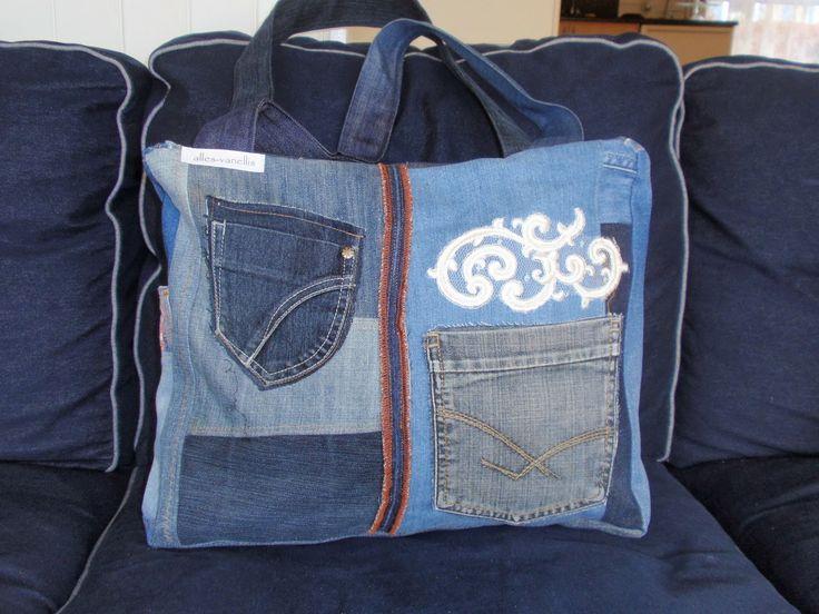 alles-vanellis: Tas van oude spijkerbroeken, Denim tas