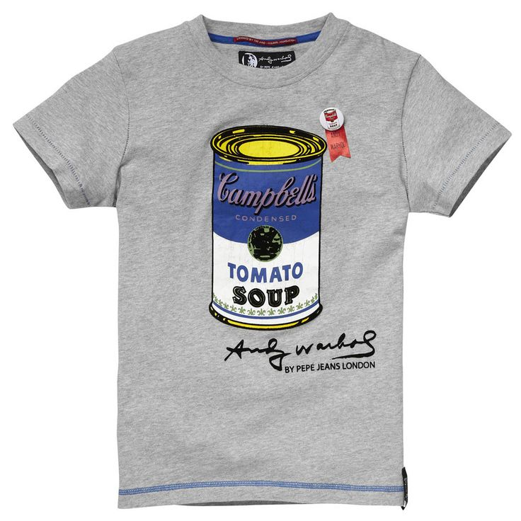 Short-sleeved T-shirt made of soft cotton with Andy Warhol - Campbell Soup print on the front. Blue topstitching at the bottom and at the sleeves.