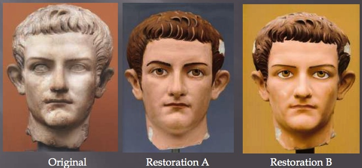 How a marble portrait would have appeared in AD 38-40. The Digital Sculpture Project of the Virtual World Heritage Laboratory digitally replicated and colored this statue of the emperor Caligula according to analysis of traces of paint.