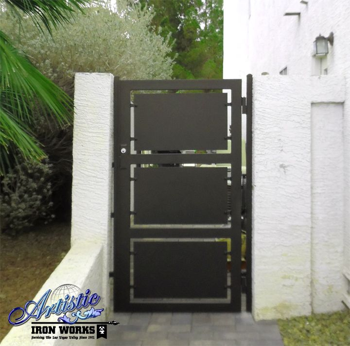 Modern wrought iron side gate wrought iron gates for Single gate designs for homes