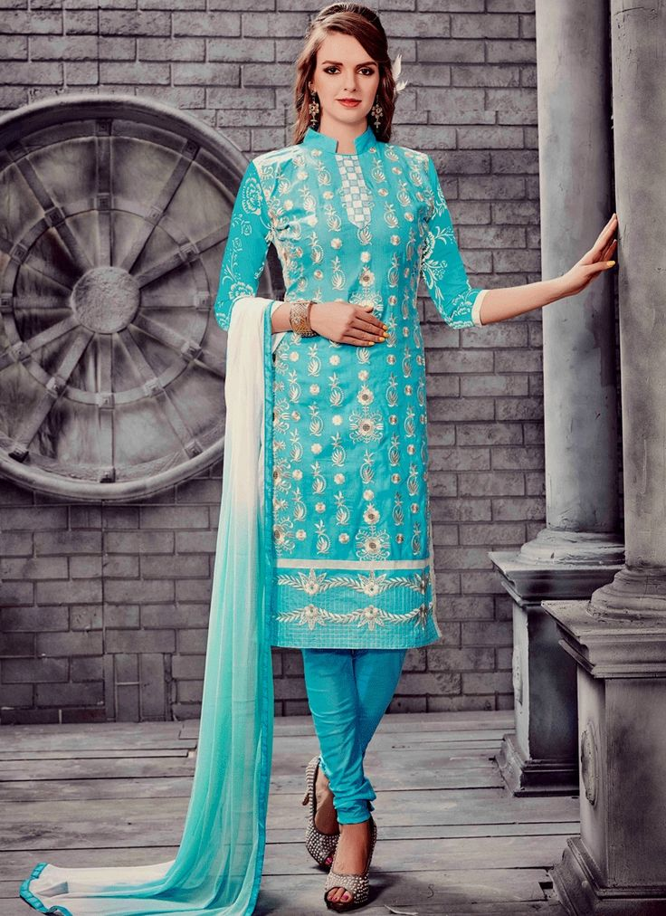 Stylish and trendy salwar suits latest collection. Shop now! This graceful embroidered work churidar suit.