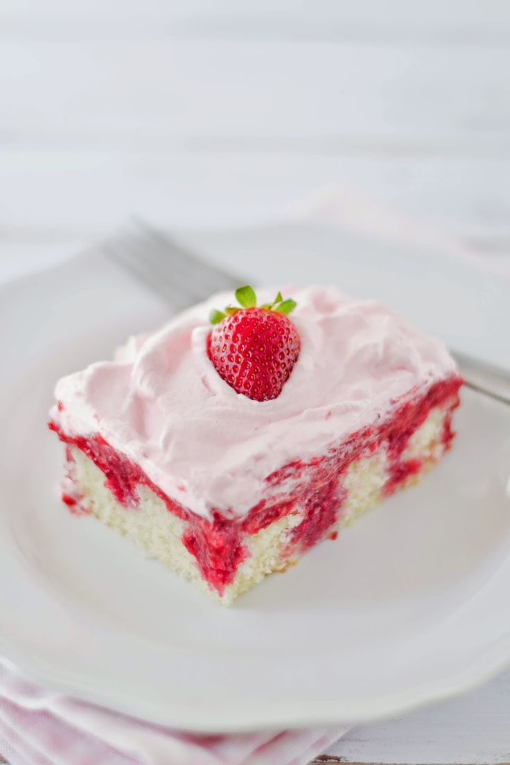 Real Strawberry Poke Cake
