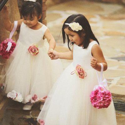 Wedding dresses cute little girl with tea appliques a line sleeveless charm cheap evening dresses summer children