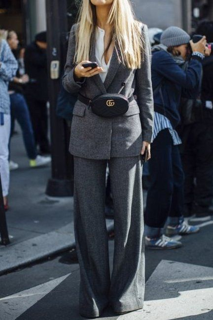 This grey power suit and Gucci belt bag is everything! Classy and stylish!