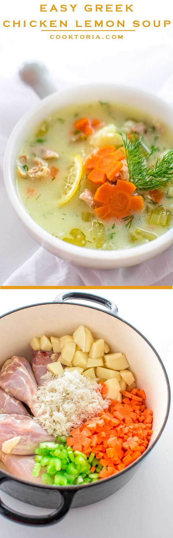 Easy Greek Chicken Lemon Soup. This brightly flavored chicken and rice soup will become your favorite in no time! ❤ COOKTORIA.COM