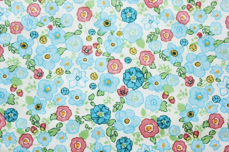 Floral Cotton Fabric / Floral Fabric / Quilting Fabric / Teal / Little Flowers / Patchwork Blouse Dress Sewing Material / Half Metre by TwoChubbyRabbits on Etsy