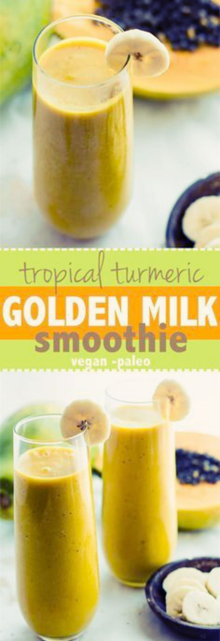 TROPICAL TURMERIC GOLDEN MILK VEGAN SMOOTHIE   Anti-inflammatory boosting Tropical Turmeric Golden Milk Smoothie! A paleo and vegan friendly smoothie packed with the mega nutrients from turmeric tea golden milk and tropical fruit combined! Packed with fiber, healthy fats, and a whole lotta nourishment!   #smoothie #batido #tropical #turmeric #curcuma #GoldenMilk #vegan #vegano #paleo #antiinflammatory #antiinflamatorio  via @cottercrunch