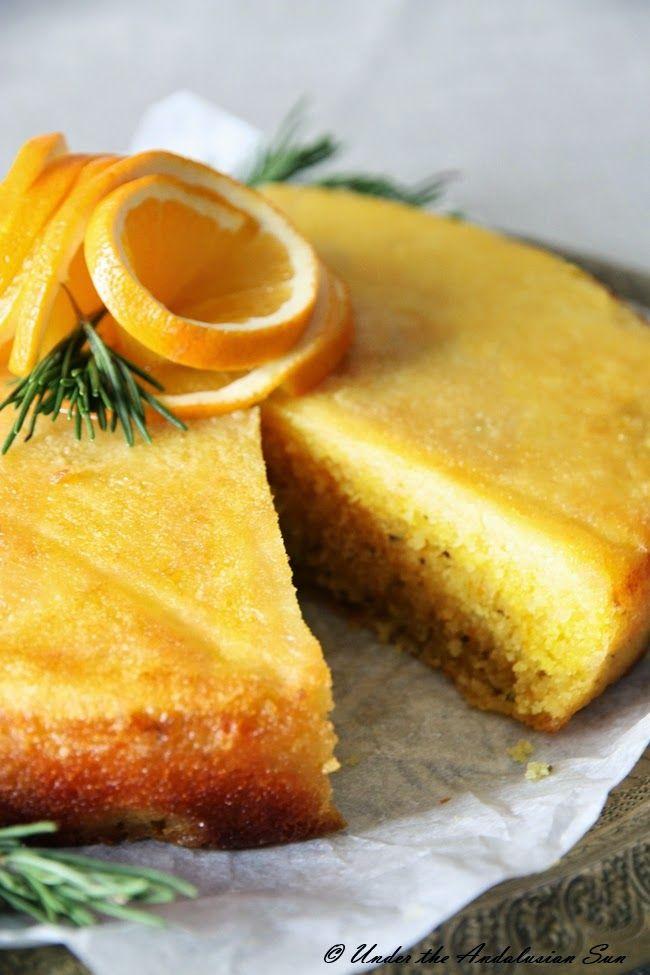 Orange and rosemary polenta cake. Juicy, bright, delicious ...