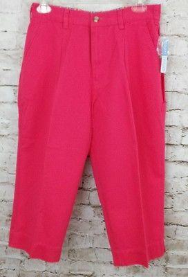 NEW Womens Capris Pants Cropped 100% Cotton Pink Mountain Lake Size 8 P
