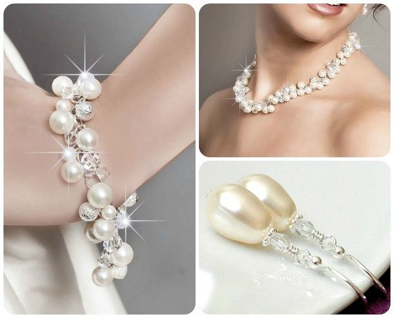 Ivory Pearl Bride's SET, Jewellery for the Bride, Cluster Jewelry SET
