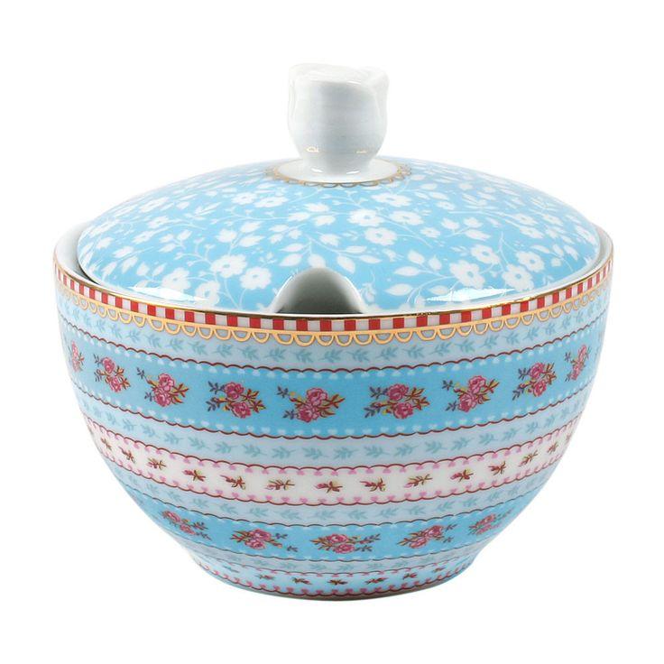 Pip Studio Ribbon Rose Sugar Bowl - Blue at Amara