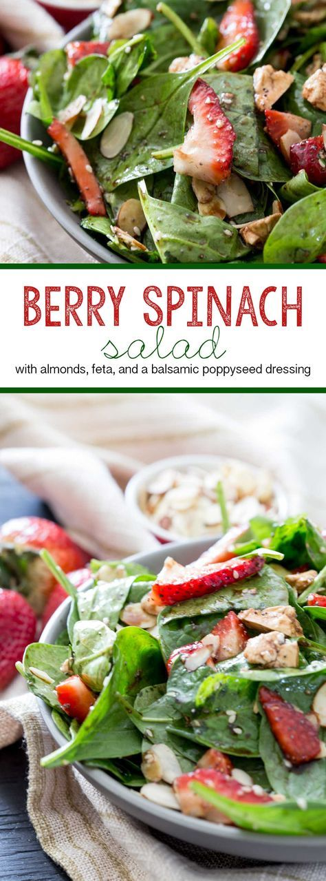 Strawberry Spinach Salad Recipe Berry salad, Spinach