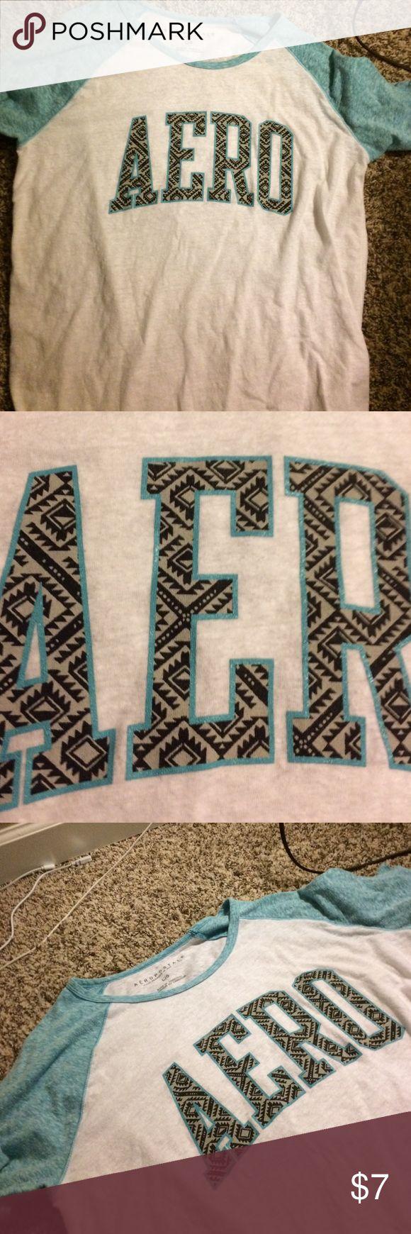 aero shirt short sleeve blue and white aero shirt Aeropostale Tops Tees - Short Sleeve