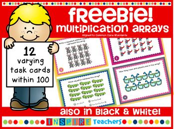This FREE product is a preview for my 40 multiplication array task cards. Practice making connections with arrays, repeated addition, word problems and multiplication sentences with this set of 12 multiplication array task cards. Included are a variety of questions to allow differentiation amongst your students.