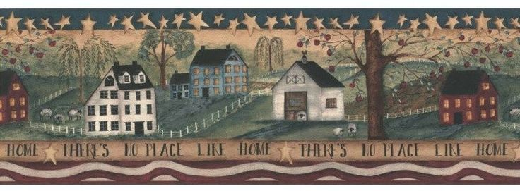 There's No Place Like Home Primitive Wallpaper Border - HF8506B