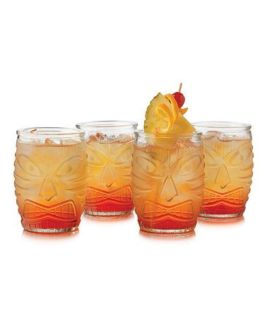 Love this Tiki God 16-Oz. Double Old-Fashioned Glass - Set of Four on #zulily! #zulilyfinds