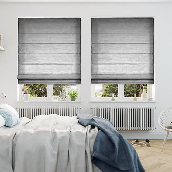Dupioni Faux Silk Platinum Roman Blind from Blinds 2go