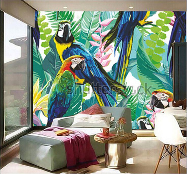 Cheap Ultime 3d personalizzato grande murale, colorato pappagalli e fiori…