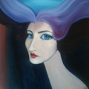 Oil on hardboard 44x44 cm 70 $ #painting #portrait #surreal #inspiration #painting #artforsale #homedecor #artsy #artist #oilpainting #paint #modernart #artinspiration #artistic #face