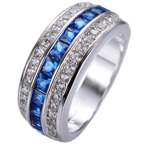 White Gold Filled Thin Blue Line Ring For Women