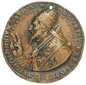 Artemide Aste - Asta XXVI: 1260 - Gregorio XIII (1572-1585) Medaglia 1582 per la fondazione del Collegio Romano - Dea Moneta