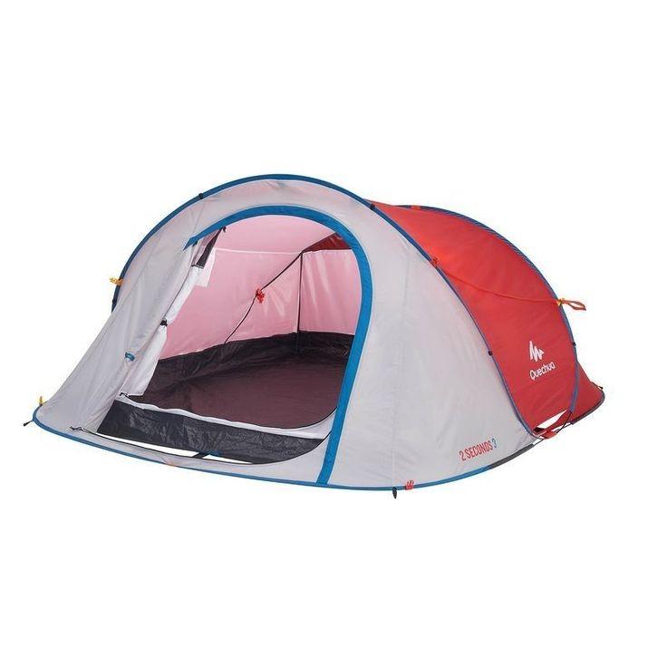 QUECHUA 2 Seconds III Wurfzelt 3 Personen Easy Pop Up Camping Zelt Strand Rot