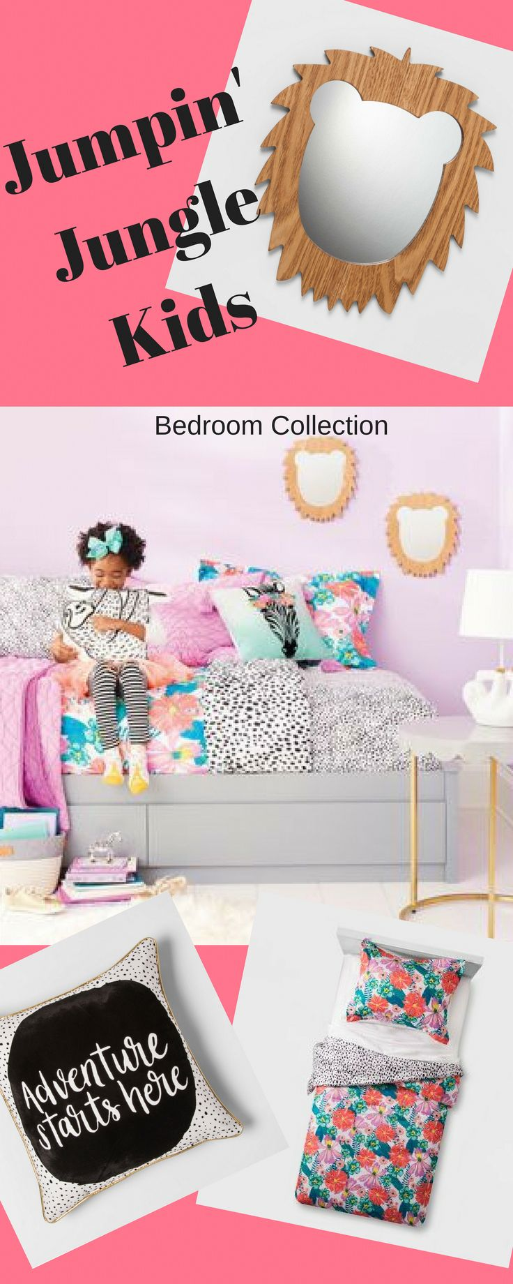 Jumpin' Jungles Kids' Bedroom Collection - Pillowfort™️ | Our latest Pillowfort collections have lots of fun finds to up the imagination for kid spaces that are all their own, from fun pillows to a canopy and more. Spotted sheets, tropical flower prints, lion mirrors and-not to miss-a sloth pillow. This kids' bedroom collection is a total jungle, and it couldn't get much cuter than this. #girls bedroom #jungle #ad