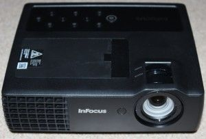 """InFocus IN1118HD Mobile Projector Review - """"The IN1118HD, reviewed here, is a portable DLP projector designed for business presentations on the go.  It comes with a soft carrying case that holds the projector, remote, and cables."""" -Ron Jones, Projector Reviews"""