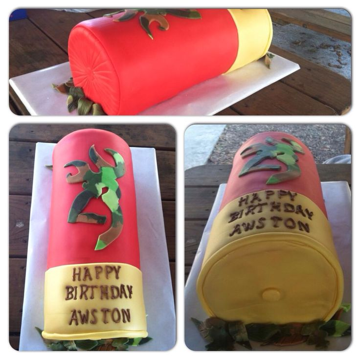 Shot Gun Shell Birthday Cake for my son Awston!