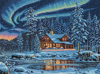 Aurora Cabin Cross Stitch Pattern