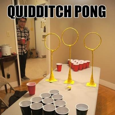 Quidditch pong, drinking games, beer pong, harry potter - Imgur