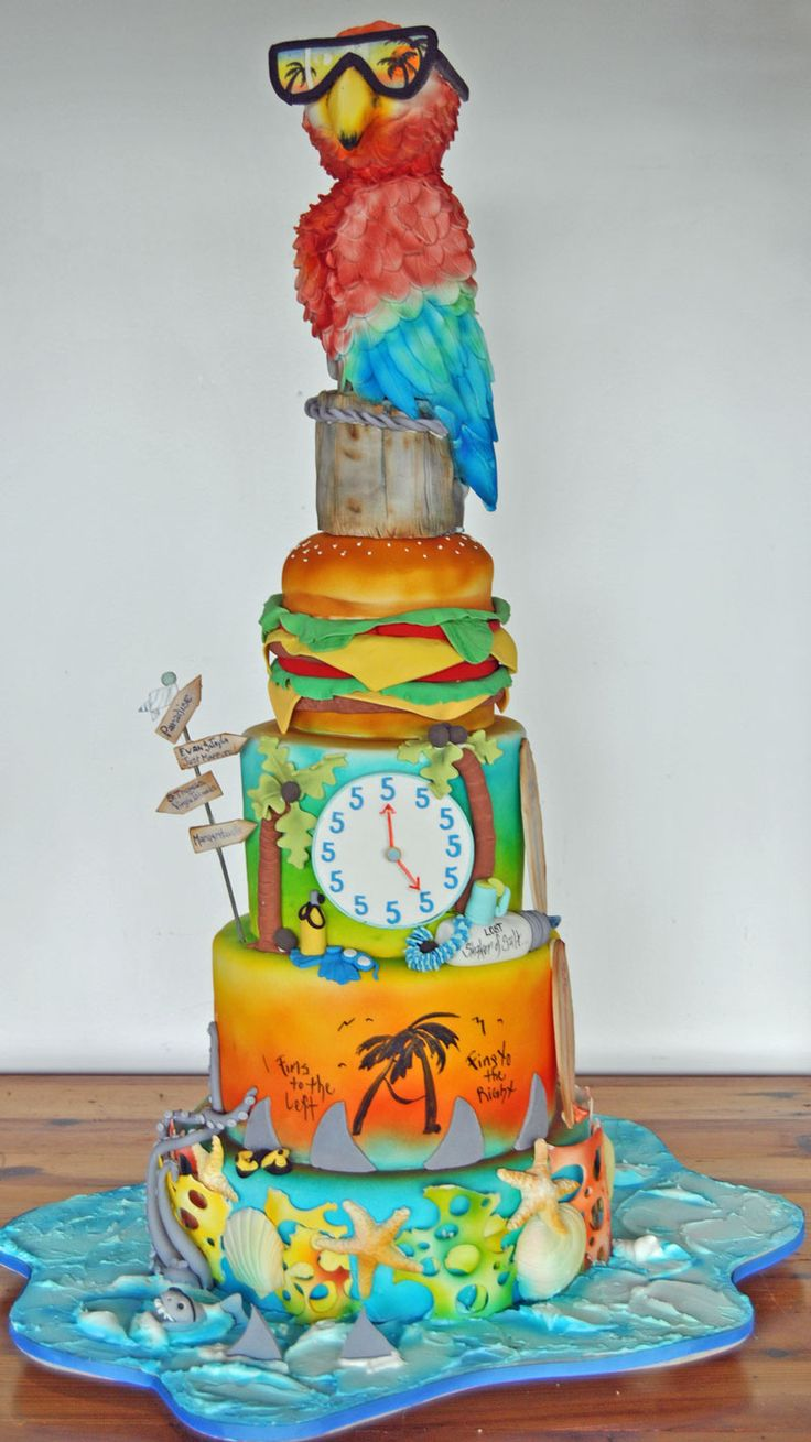 """- Jimmy Buffet Grooms Cake Parrot is made from RKT all edible materials. Cake Measured 40"""" in height"""