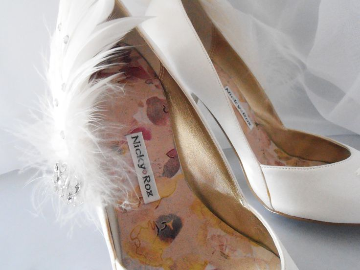 Design 'Eternal' - embellished with doves, feathers and Swarovski elements.  Soft leather insoles - Nicky ROX Shoe Designs