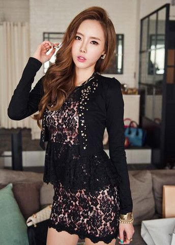 Puff Sleeve Black Unclosed Jackets with Rivet – teeteecee - fashion in style