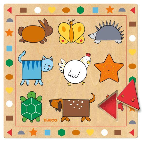 Keresd a formát! Formakereső fa kirakó állatkákkal (Djeco) | Pandatanoda.hu Játék webáruház