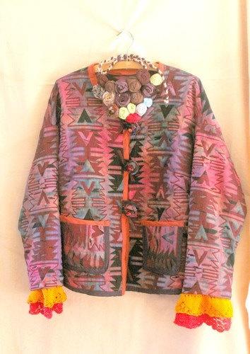 Jacket Autumn Jacket Jacquard Jacket Upcycled by recyclingroom, $150.00