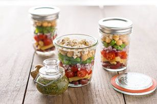 Layered Bean Salad with Feta -- Layered with colorful beans, crumbled feta and Italian dressing, this salad is prepared in canning jars for easy picnic-cooler packing.