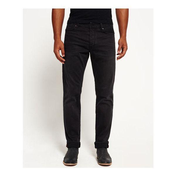 Superdry Biker Jeans ($75) ❤ liked on Polyvore featuring men's fashion, men's clothing, men's jeans, black, mens flap pocket jeans, mens button fly jeans, mens jeans, mens biker jeans and mens patched jeans