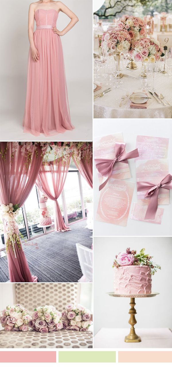 dusty pink and green fall wedding color ideas and bridesmaid dresses