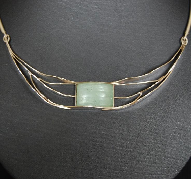 silver with aquamarine