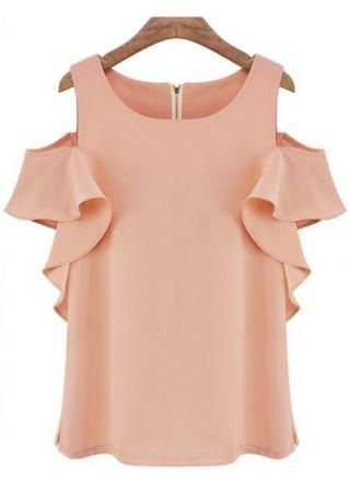 Solid Ruffled Off Shoulder Fashion Blouse
