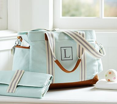 I wasn't thinking about getting a new diaper bag. but this makes me happy. (no monogram!) Aqua Classic Mom Diaper Bag #pbkids