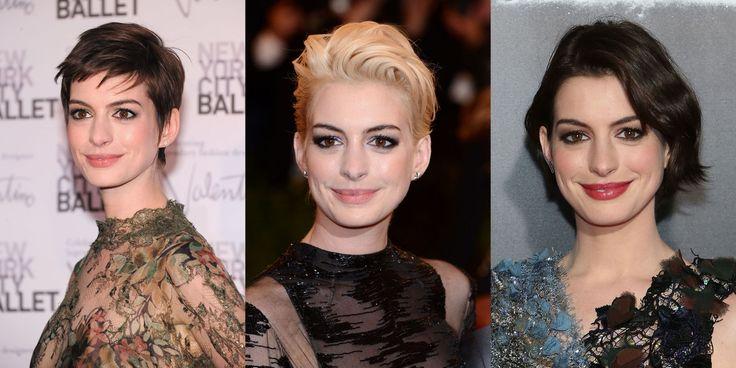 Far ricrescere i capelli? 16 ispirazioni da Anne Hathaway per tutte le fasi
