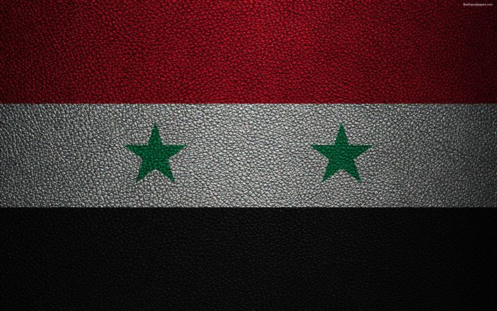 Download wallpapers Flag of Syria, 4k, leather texture, Syrian flag, Asia, world flags, Syria