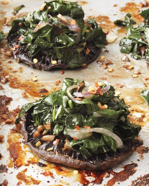 Roasted Portobellos with Kale #vegan #realfood #delicious